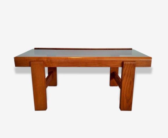 grande table basse bois massif et verre fum