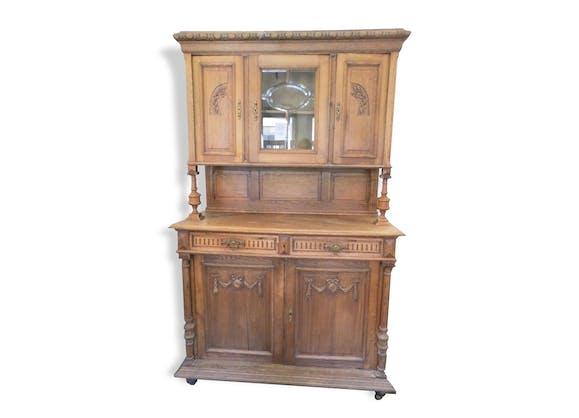 vaisselier style henri 2 deux corps et vitrine bois mat riau bois couleur classique. Black Bedroom Furniture Sets. Home Design Ideas
