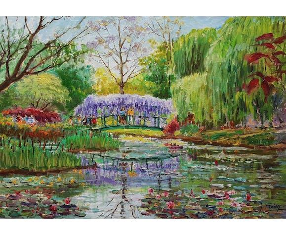 "Peinture de Charles Pavan ""Jardin de Claude Monet à Giverny"""
