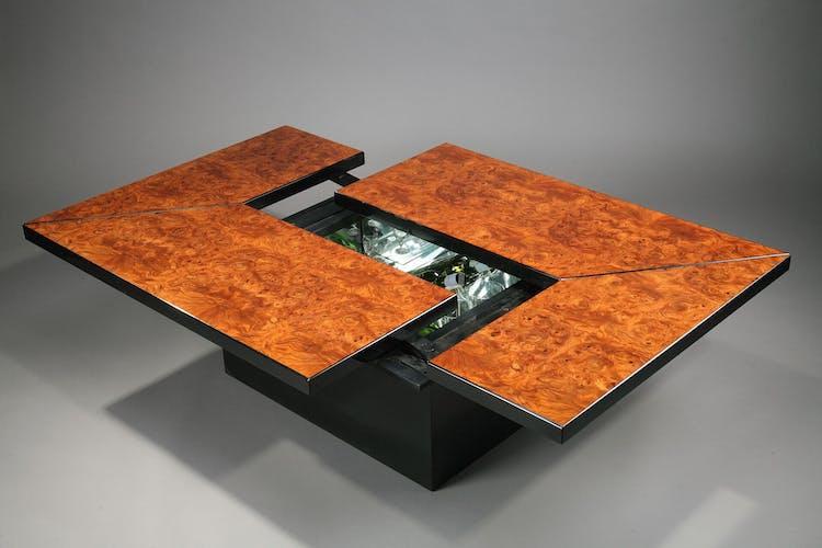 Table basse bar en loupe d'orme de Paul Michel