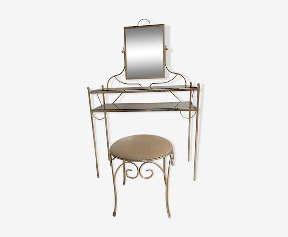 Coiffeuse vintage annees 1950 laiton et verre avec miroir et siège assorti