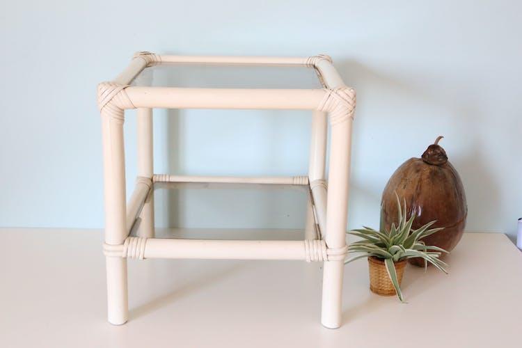 White rattan coffee table