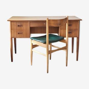 Bureau vintage scandinave et sa chaise - années 60