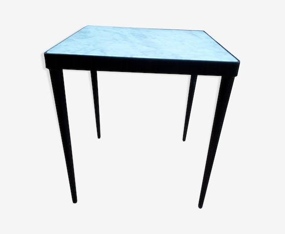 Table basse marbre et acier - marbre - blanc - vintage - 0vOnhtv