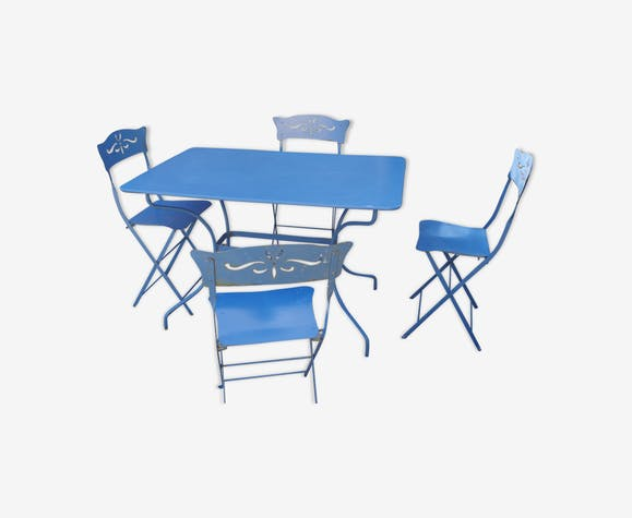 Salon de jardin table et chaises Fermob - metal - blue - vintage ...