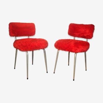 Paire 2 chaises anciennes moumoute années 1960-70