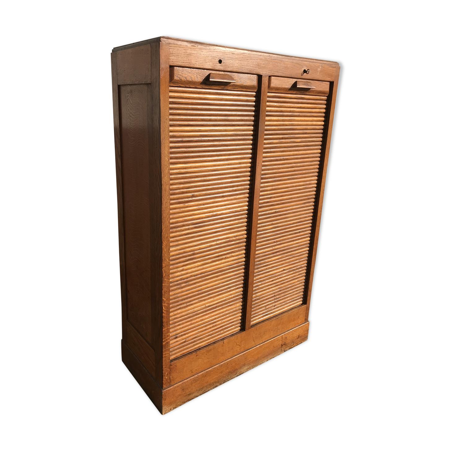Meuble rideaux à classeur de notaire bois matériau bois