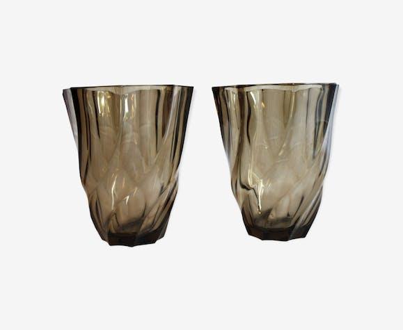 Duo de vase en verre fumé Luminarc circa 70