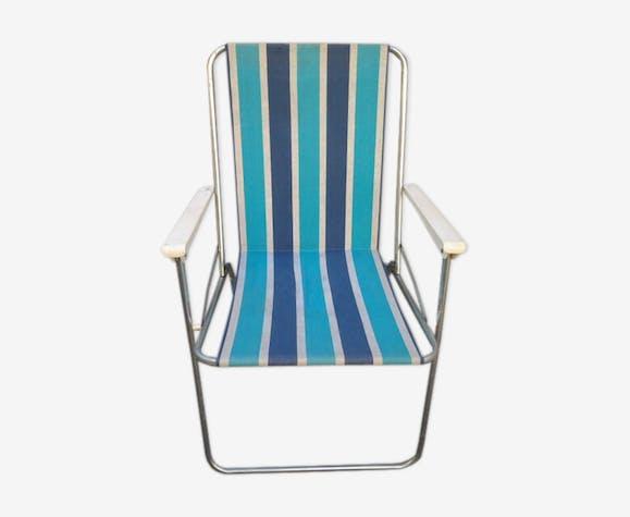 Chaise De Camping Kettler Vintage 70 S Tissu Bleu Vintage