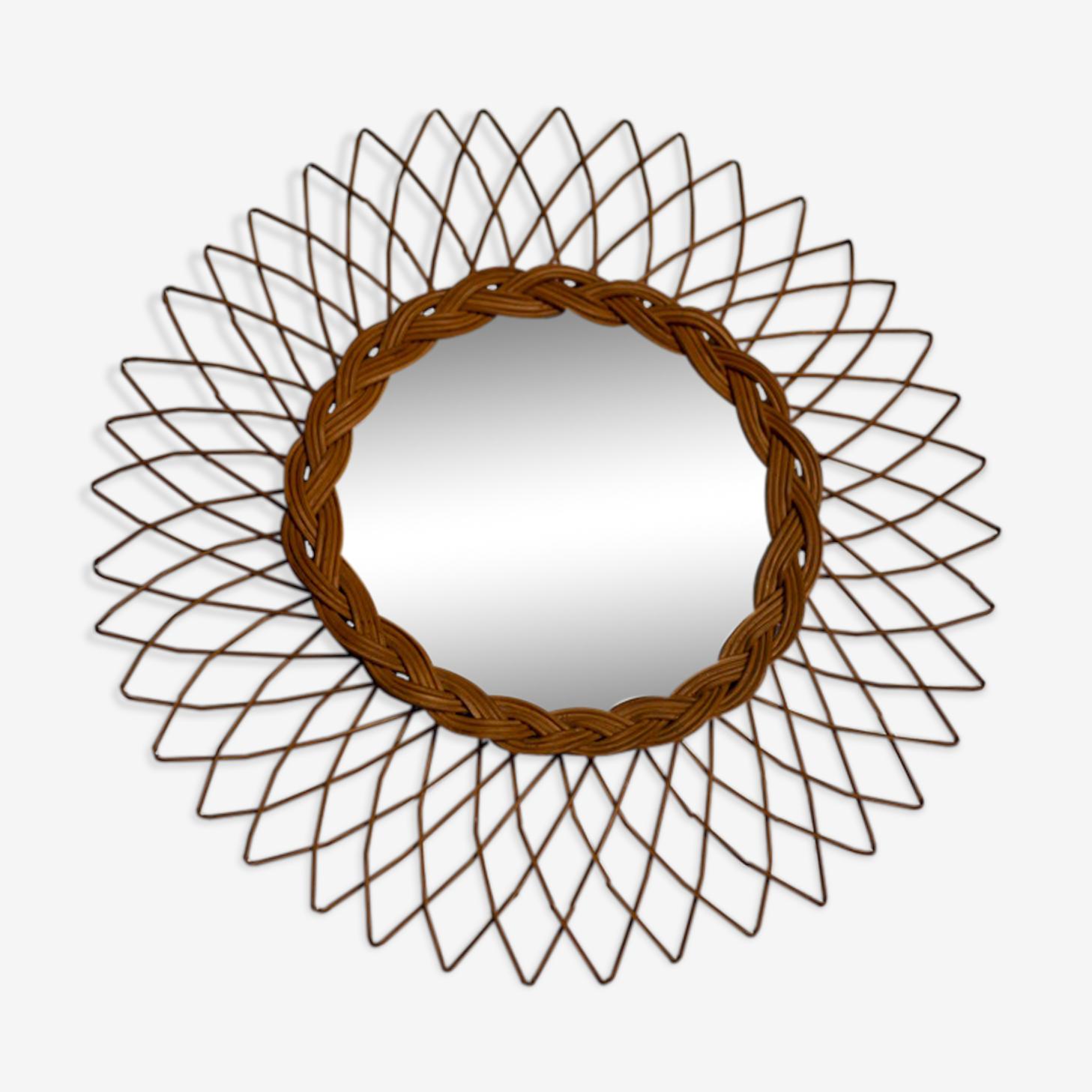 Sun 38 cm rattan mirror