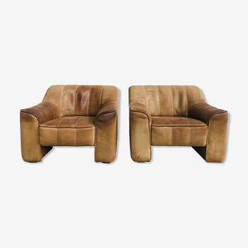 Set of 2 Swiss mid-century neck-leather lounge chairs  by de Sede, 1970s