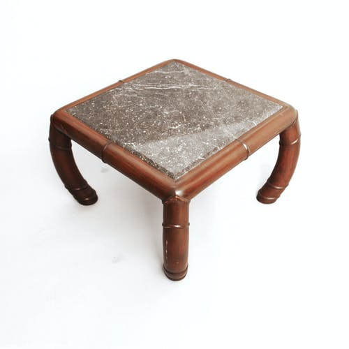 Faux Bamboo And Grey Marble Side Table Hollywood Regency Boho