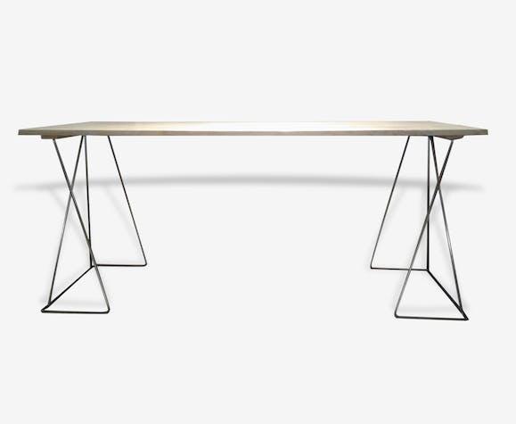 table haute table basse tr teaux m tal argent couleur. Black Bedroom Furniture Sets. Home Design Ideas