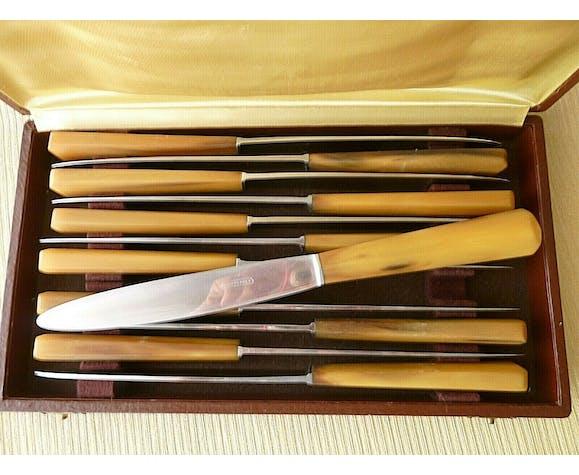 Coffret de 12 couteaux de table inox et corne bovine
