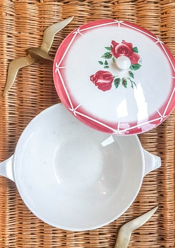 """Soupière Digoin Sarreguemines motif Rose rouge Modèle """"CIBON"""""""