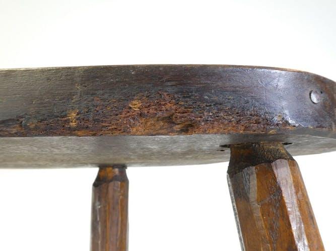 Tabouret tripode de traite en bois années 50