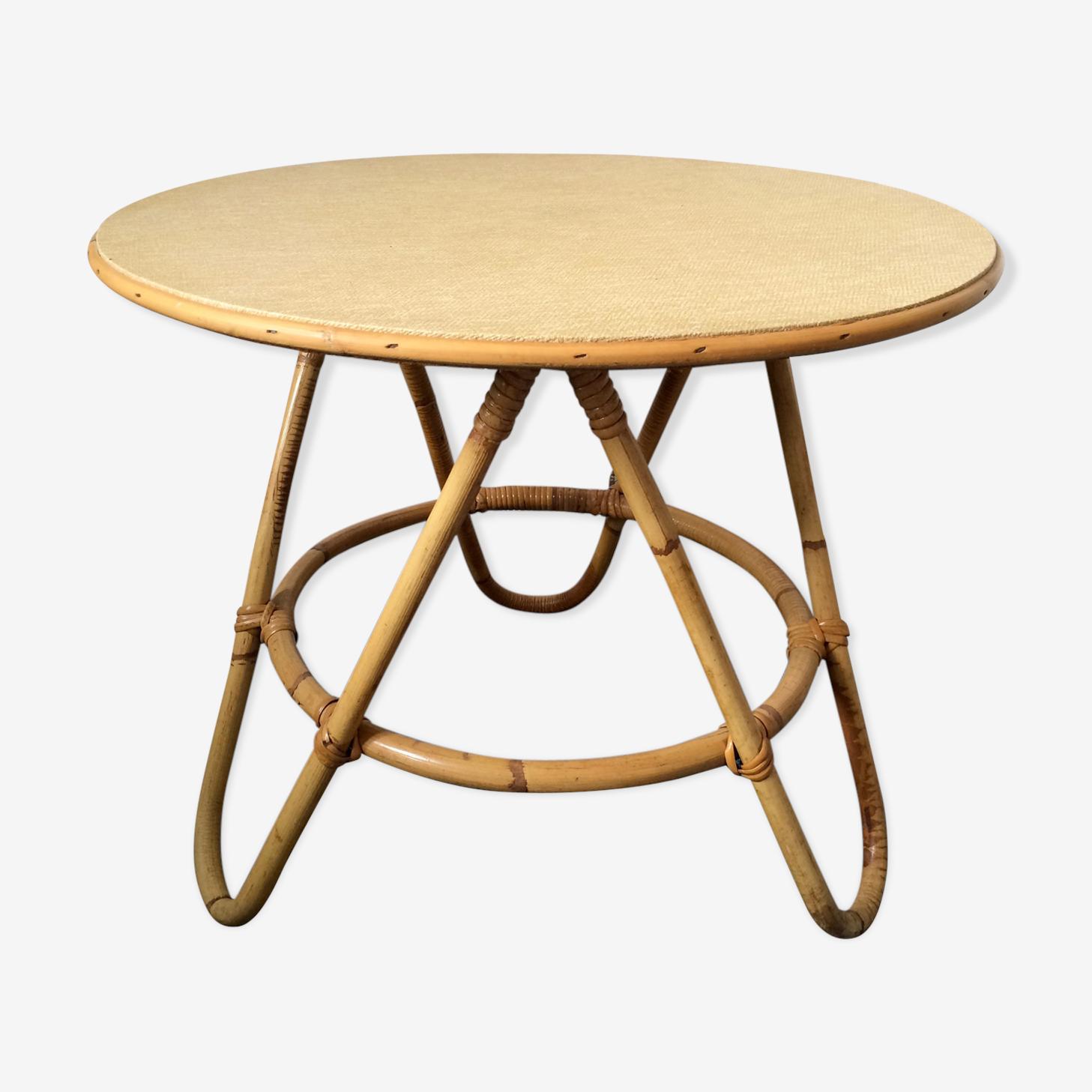 Table basse tripode rotin vintage