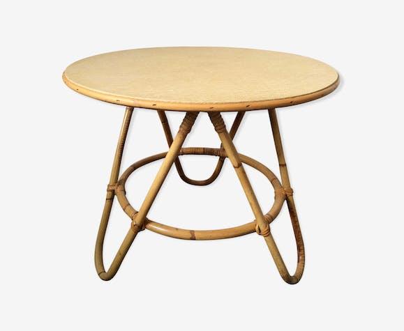 table basse tripode rotin vintage rotin et osier beige. Black Bedroom Furniture Sets. Home Design Ideas