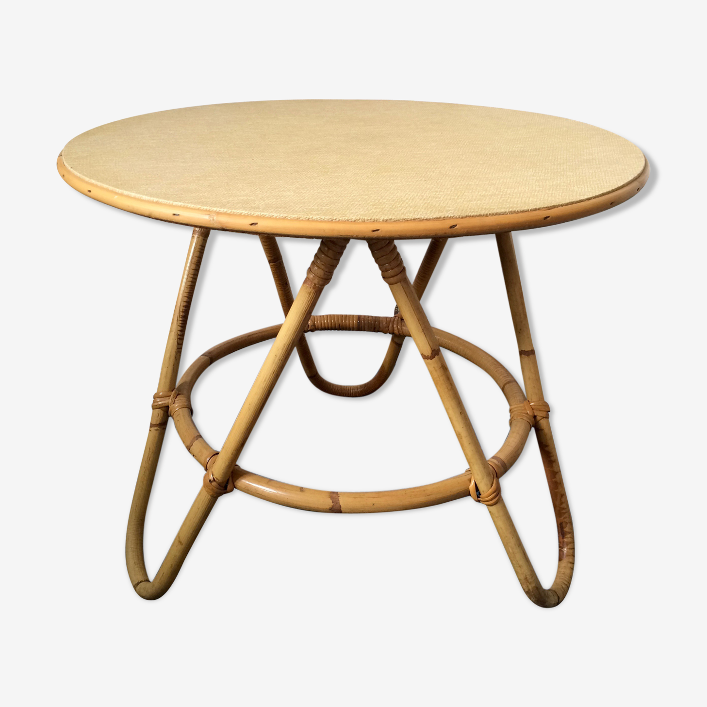 Coffee table tripod vintage rattan