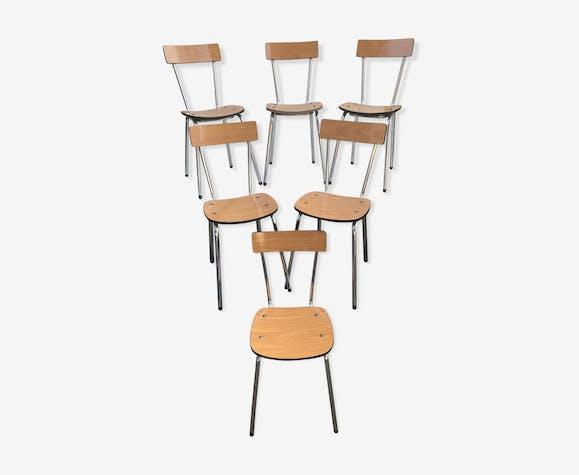 Serie de 6 chaises anciennes en formica marron vintage