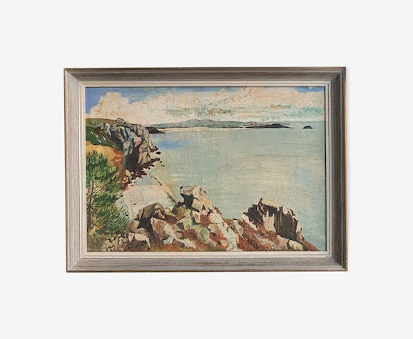 Painting on canvas framed landscape sea