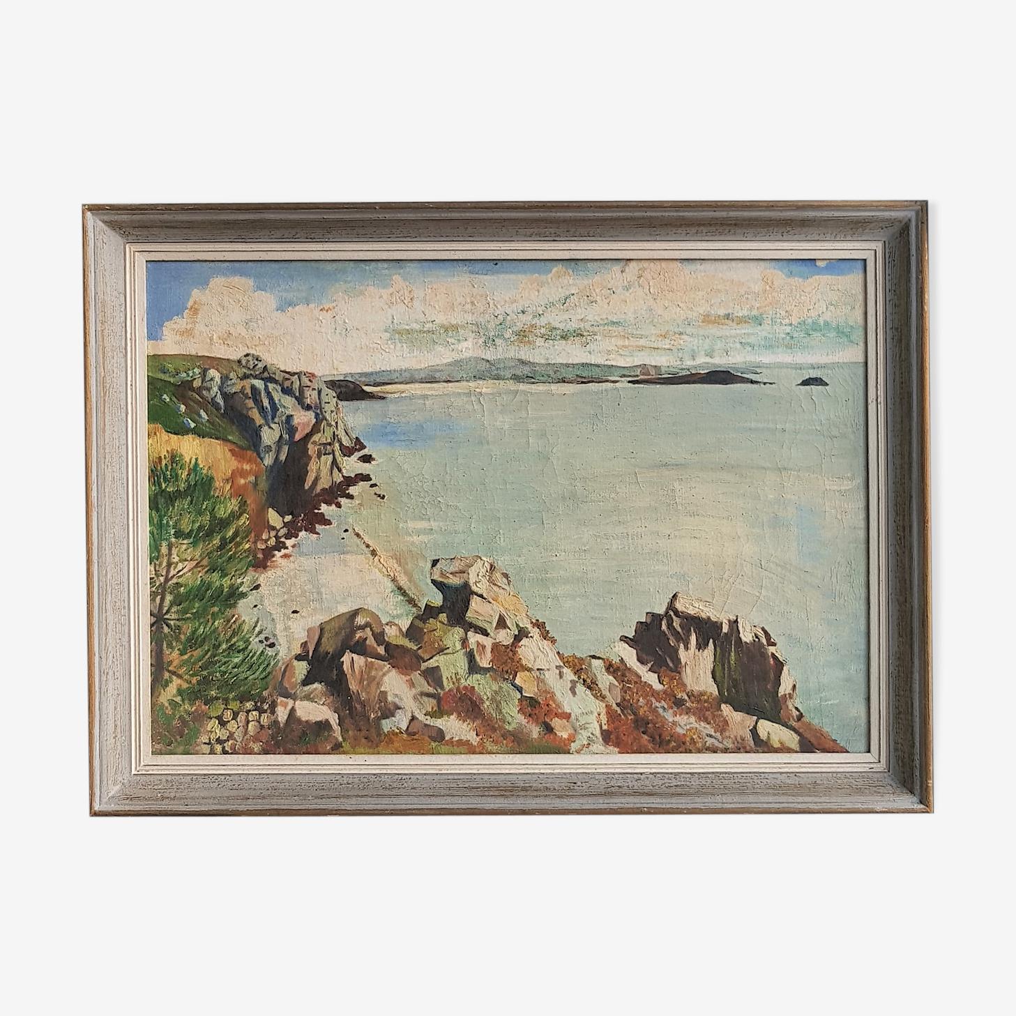 Peinture sur toile encadrée paysage bord de mer