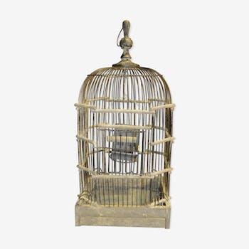 Cage en fer et bois patiné