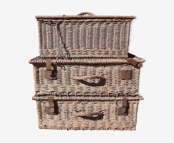 Set de 3 panières valises osier anciennes