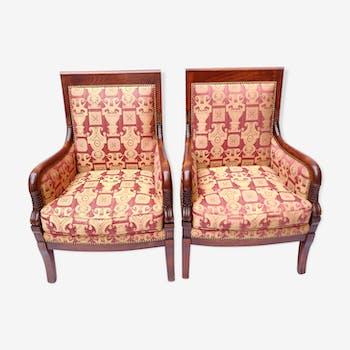 Pair of Empire mahogany armchairs