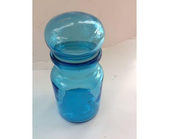 Set of 3 blue glass jars