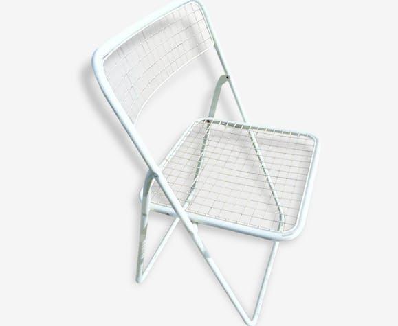 Chaise Pliante Metal Blanc Seventies