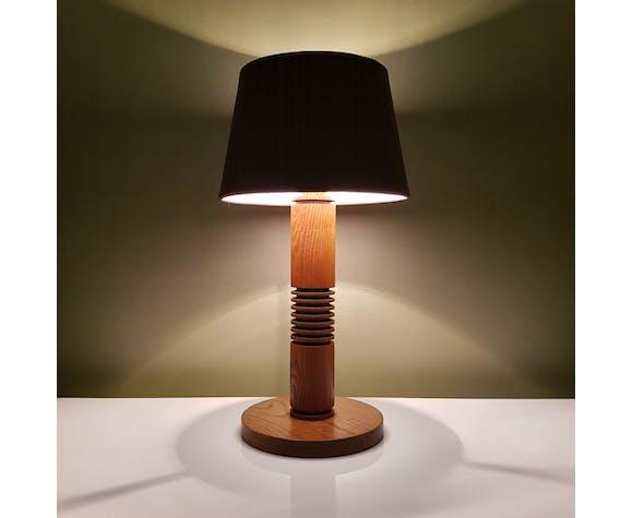 Art deco oak bedside lamp