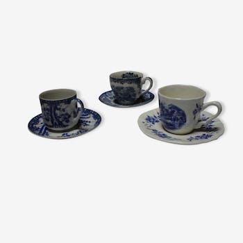 Assortiment 3 tasses et souscoupes bleues