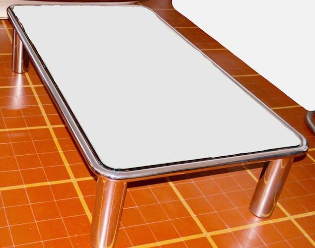 Table basse chromée et verre miroir de Gianfranco Frattini