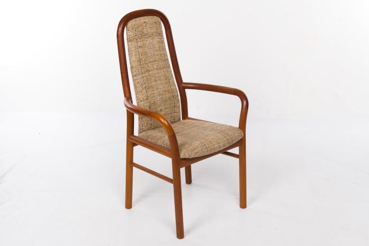 Chaise avec accoudoirs - Boltinge, teck courbé et blanchi en laine, vintage des années 70