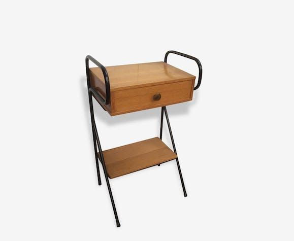 Table chevet Vintage bois et métal années 60 - iron - vintage - 135947