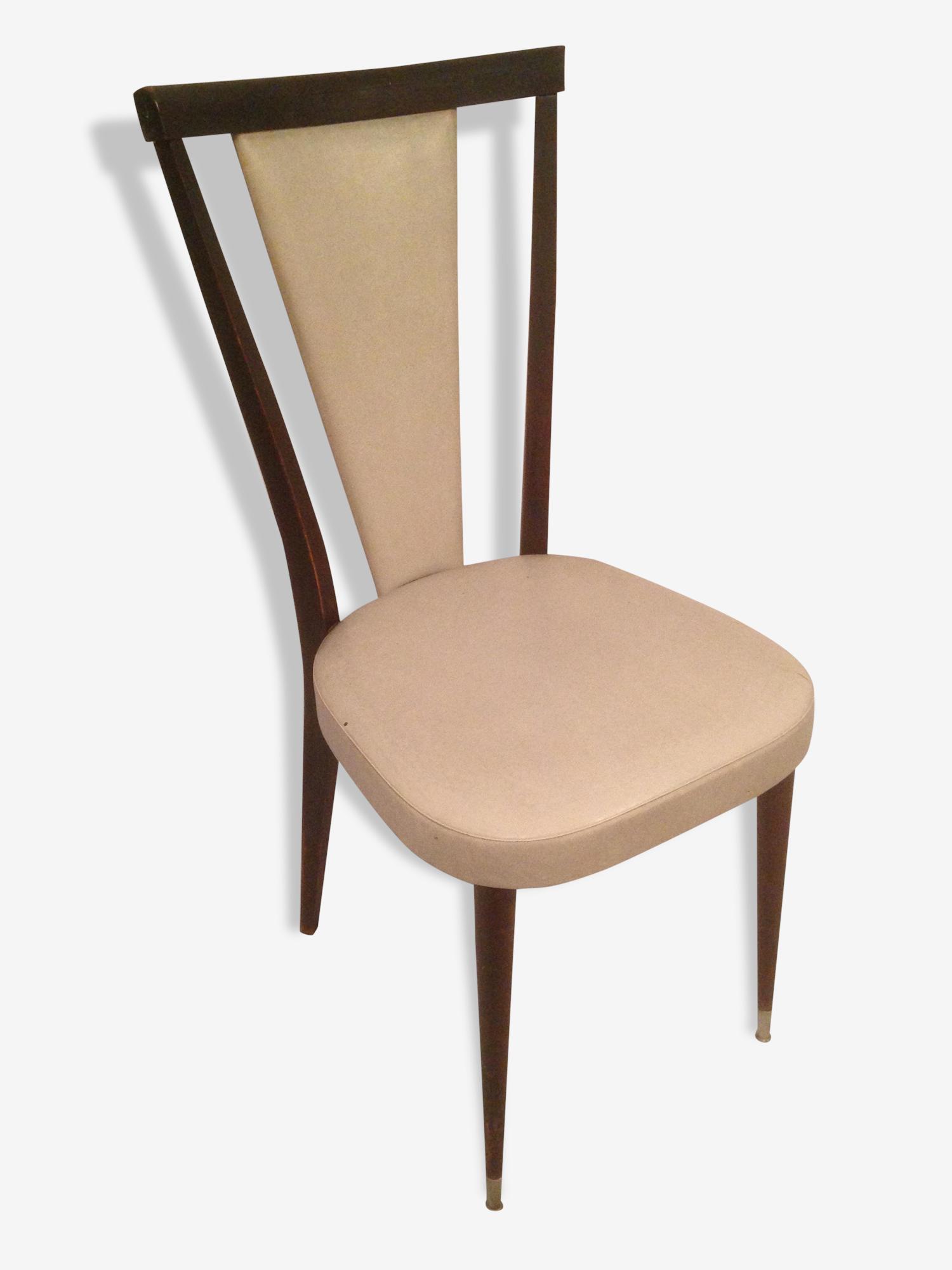 Chaise Ancienne Bois & Cuir Gris Pied pas Vintage Année 70 cuir