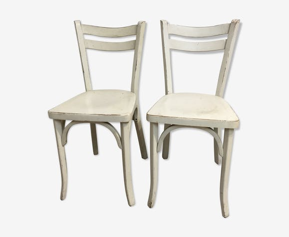 Paire chaises cuisine vintage - bois (Matériau) - blanc ...