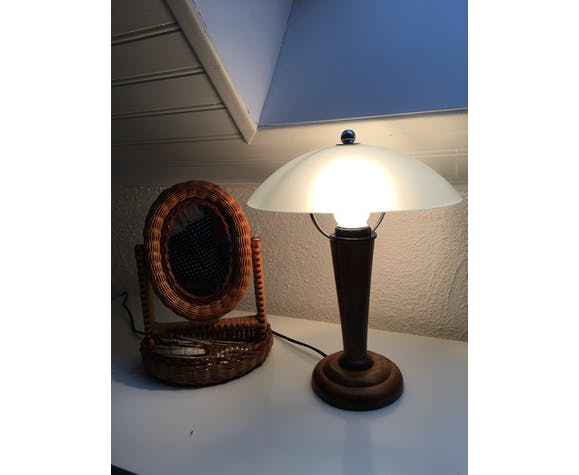 Lampe champignon en verre dépoli