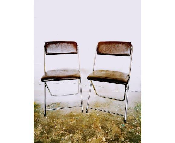 Paire de chaises pliantes vintage métal et skaï