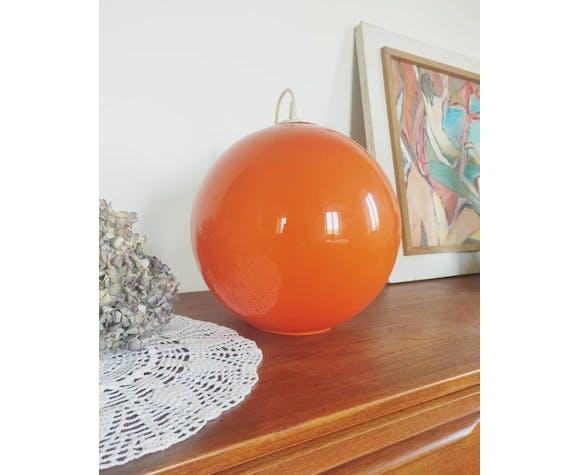 Very large globe opaline orange 70s