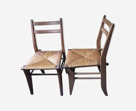 Paire de chaises en chêne, assise en paille 1960