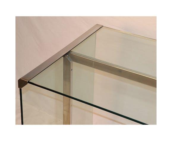 Bureau design Gallotti et Radice en verre et chrome 1970