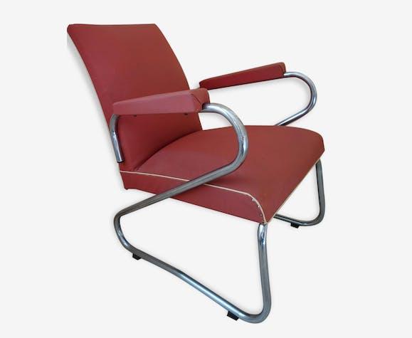 fauteuil vintage rouge en ska c tel rouge et tube chrom ska rouge vintage 55769. Black Bedroom Furniture Sets. Home Design Ideas