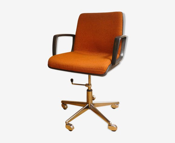 fauteuil de bureau vintage eurosit m tal orange. Black Bedroom Furniture Sets. Home Design Ideas