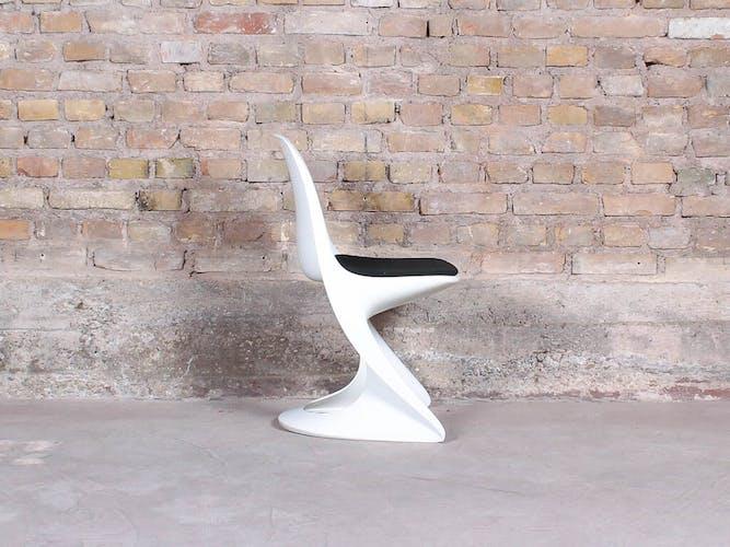 Lot de 6 chaises casalino blanches vintage par Alexander Begge pour Casala