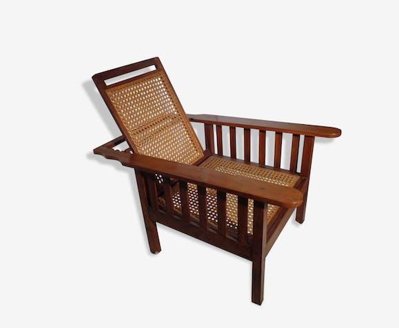 fauteuil morris chaise de repos detente bois mat riau dor vintage 61947. Black Bedroom Furniture Sets. Home Design Ideas