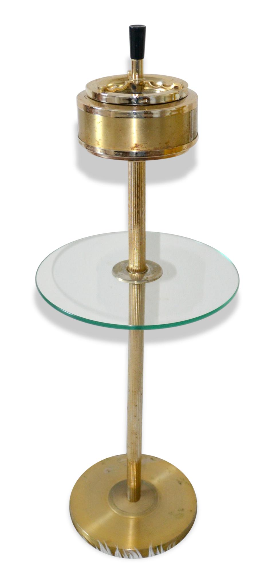 Cendrier vintage sur pied, doré, tablette en verre