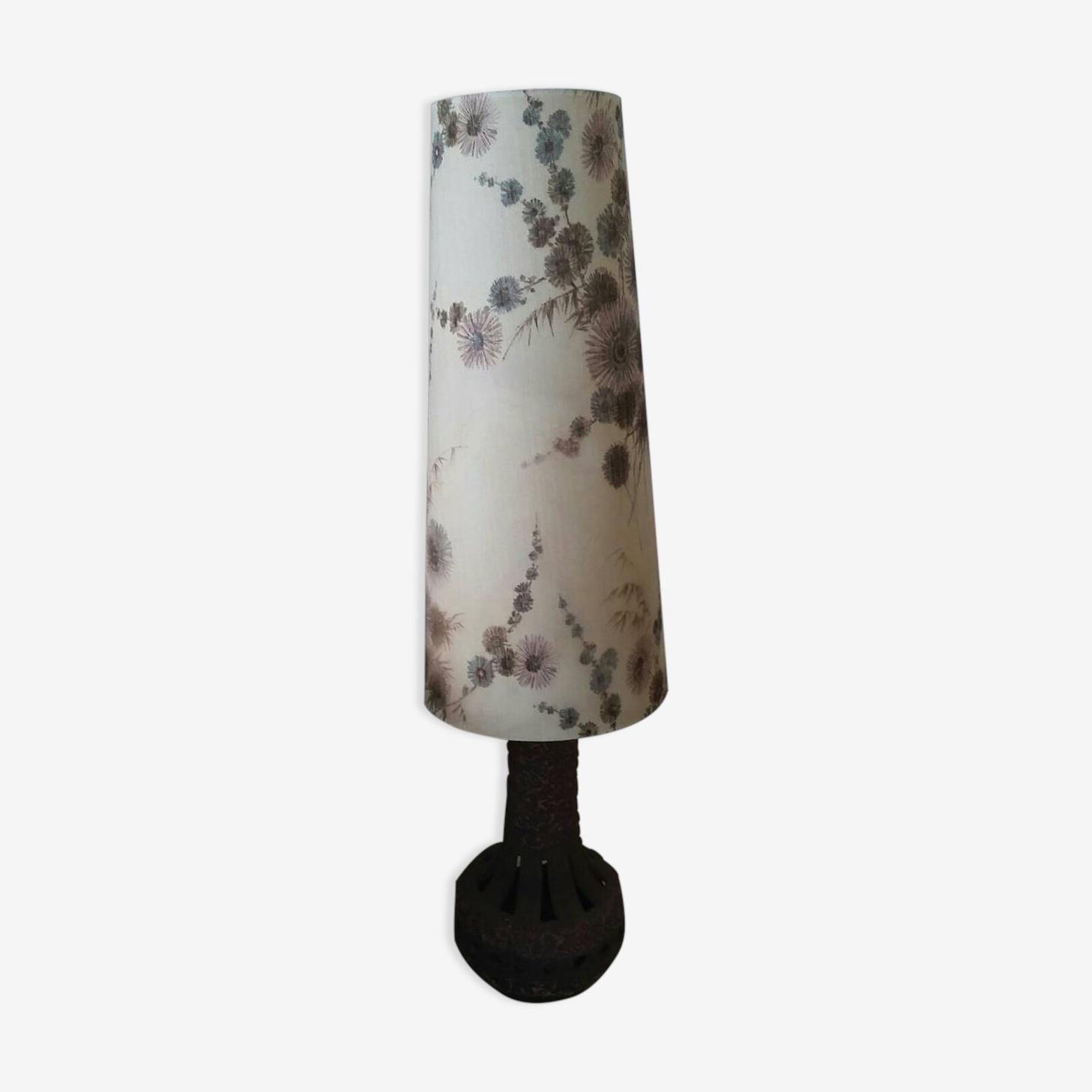 Lampe W.Germany avec pied en céramique mauve et fleurs ombre