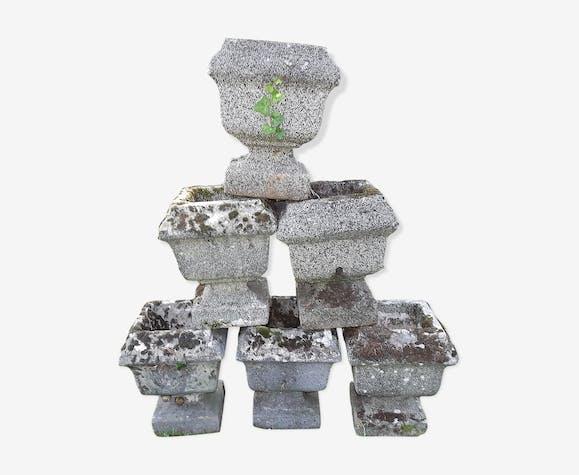 6 vases jardinières en pierre reconstituée